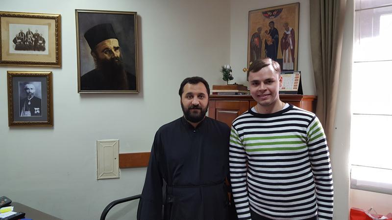 Иеромонах Анджелко и Василдий Перевалов. Цетиньский монастрь, 9 ноября 2016.
