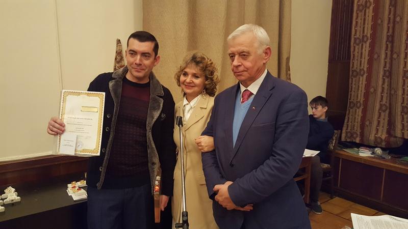 Вручение Сергею Щеглову медали Л.Н. Толстого. ЦДЛ, Москва, 2016.
